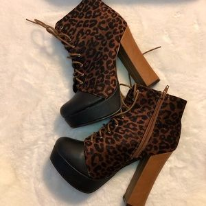 C LABEL TIGER PRINT ANKLE BOOT